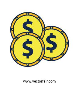 coins money dollars flat style icon