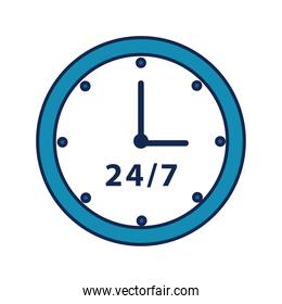 time clock with 24-7 symbol flat style