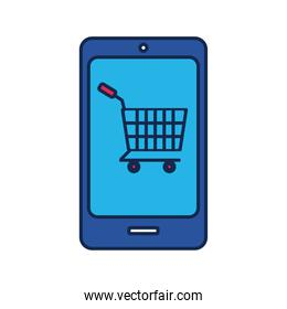 smartphone with shopping cart flat style icon