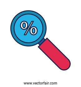 magnifying glass with percent symbol flat style