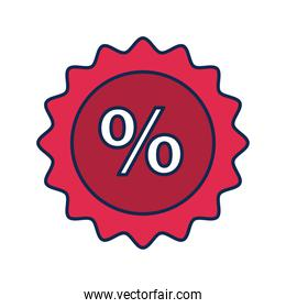 seal with percent symbol flat style icon