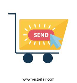 Digital marketing cart with send button flat style icon vector design