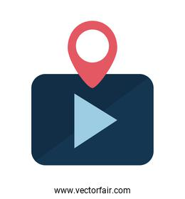 Digital marketing play button with gps mark flat style icon vector design