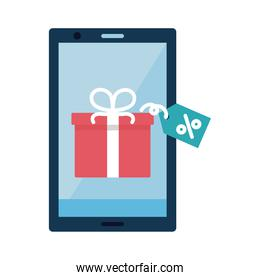 Digital marketing gift with label in smartphone flat style icon vector design