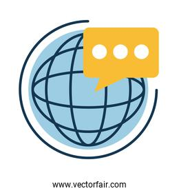 Digital marketing global sphere with bubble flat style icon vector design