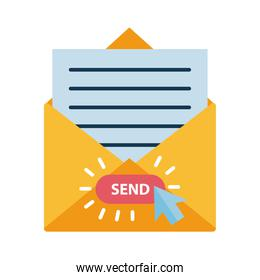 Digital marketing envelope with send button flat style icon vector design
