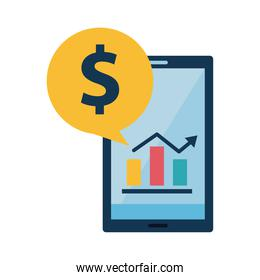 Digital marketing bars chart in smartphone with money bubble flat style icon vector design