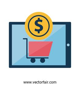 Digital marketing cart in tablet with coin flat style icon vector design