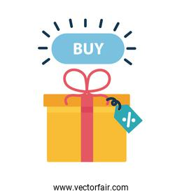 Digital marketing gift with buy button flat style icon vector design