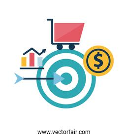 Digital marketing target with bars chart cart and coin flat style icon vector design
