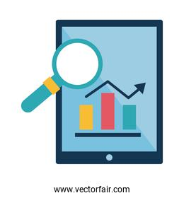 Digital marketing bars chart in tablet with lupe flat style icon vector design