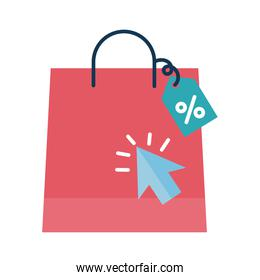 Digital marketing bag with label and cursor flat style icon vector design