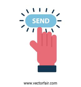Digital marketing cursor hand with send button flat style icon vector design