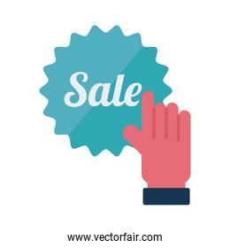 Digital marketing cursor hand with sale seal stamp flat style icon vector design