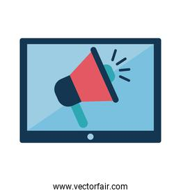 megaphone in tablet flat style icon vector design