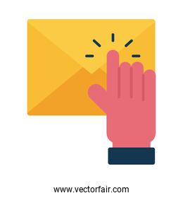 Digital marketing envelope with cursor hand flat style icon vector design
