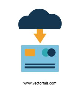Digital marketing credit card and cloud computing flat style icon vector design