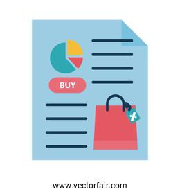 Digital marketing bag and pie chart in document flat style icon vector design