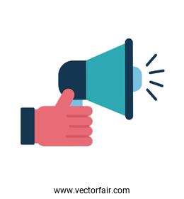 Hand holding megaphone flat style icon vector design