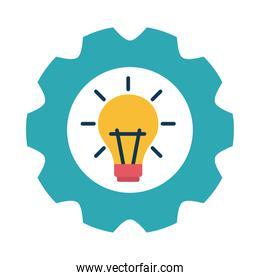 light bulb in gear flat style icon vector design