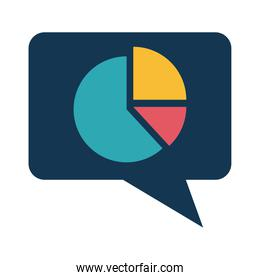 infographic bars chart in bubble flat style icon vector design