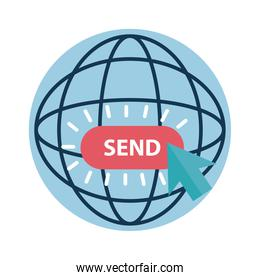 Digital marketing global sphere with send button flat style icon vector design