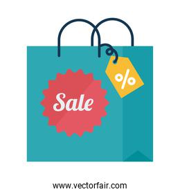 Digital marketing bag with sale seal stamp flat style icon vector design