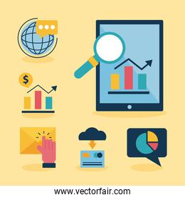 Digital marketing tablet and flat style icon set vector design