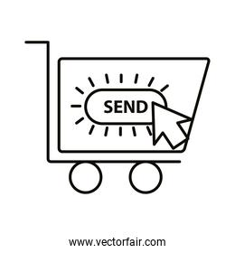 Digital marketing cart with send button line style icon vector design