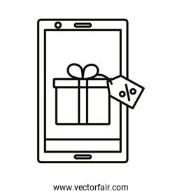 Digital marketing gift with label in smartphone line style icon vector design