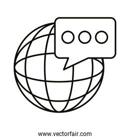 Digital marketing global sphere with bubble line style icon vector design
