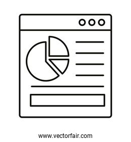 infographic bars chart in website line style icon vector design
