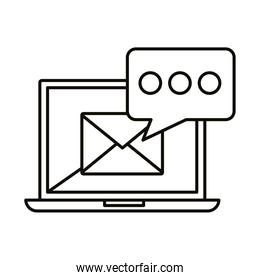 Digital marketing envelope in laptop with bubble line style icon vector design