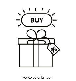 Digital marketing gift with buy button line style icon vector design