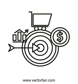 Digital marketing target with bars chart cart and coin line style icon vector design
