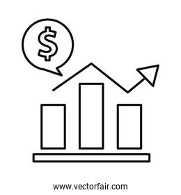 Digital marketing bars chart with money bubble line style icon vector design