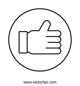 Social media like hand line style icon vector design