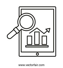 Digital marketing bars chart in tablet with lupe line style icon vector design