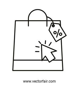 Digital marketing bag with label and cursor line style icon vector design