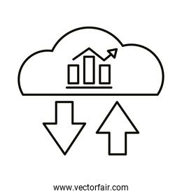Digital marketing bars chart in cloud computing line style icon vector design
