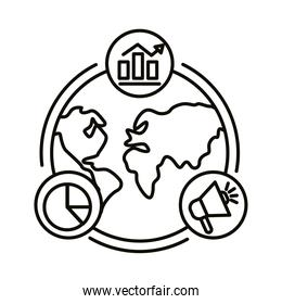 Digital marketing world with line style icon set vector design