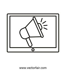 megaphone in tablet line style icon vector design