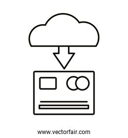 Digital marketing credit card and cloud computing line style icon vector design