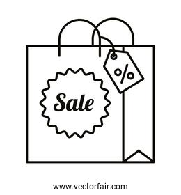 Digital marketing bag with sale seal stamp line style icon vector design