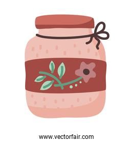 tea jar with flower vector design