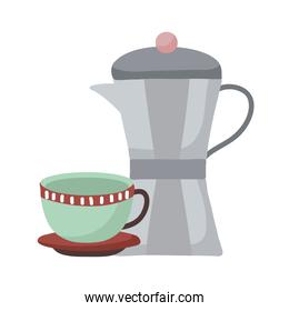 coffee cup and kettle vector design