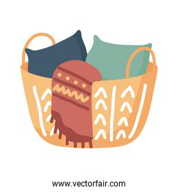 home pillows and blanket in basket vector design