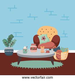home chair plant table and basket vector design