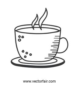 coffee cup hand draw and line style icon vector design