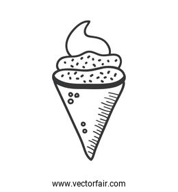 ice cream hand draw and line style icon vector design